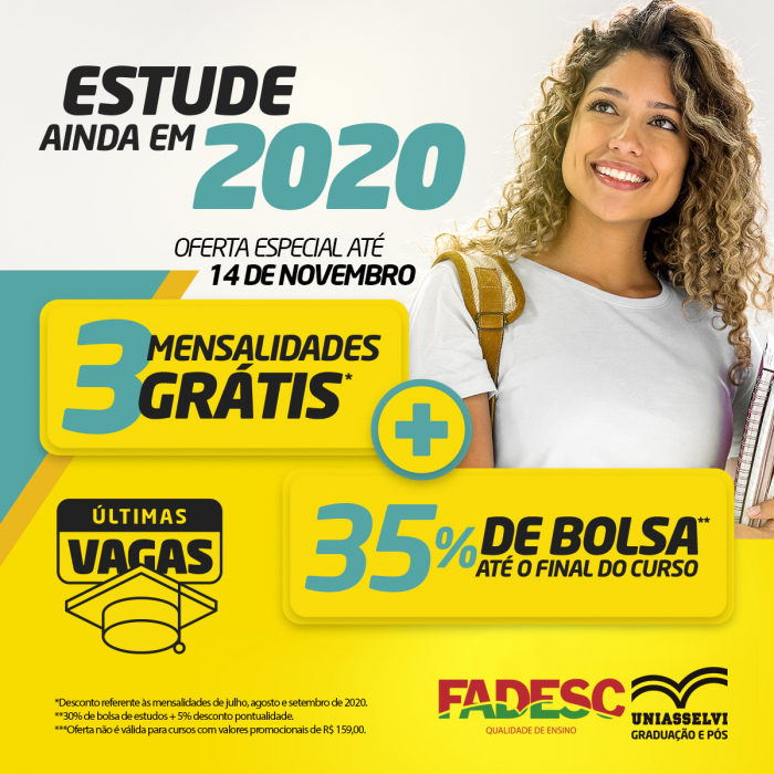 Estude ainda em 2020, aproveite a oferta especial da FADESC – Uniasselvi.