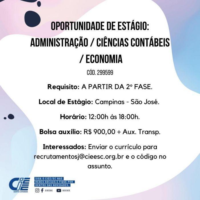 Estágio Administração / Ciências Contábeis / Economia