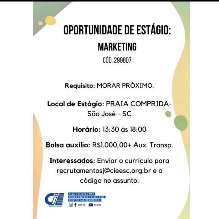Oportunidade de Estágio: Marketing